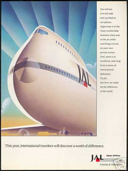 JAL Japan Airlines Great 747 Plane Airplane Art (1989)