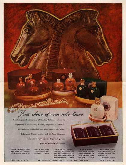 Courtley, Limited's Courtley Toiletries – First choice of men who know (1945)
