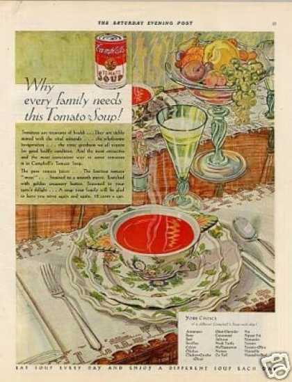 """Campbell's Tomato Soup Ad """"Why Every Family... (1929)"""