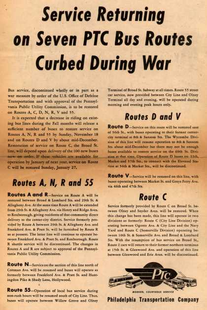 Philadelphia Transportation Company's Seven PTC Bus Routes – Service Returning on Seven PTC Bus Routes Curbed During War (1945)