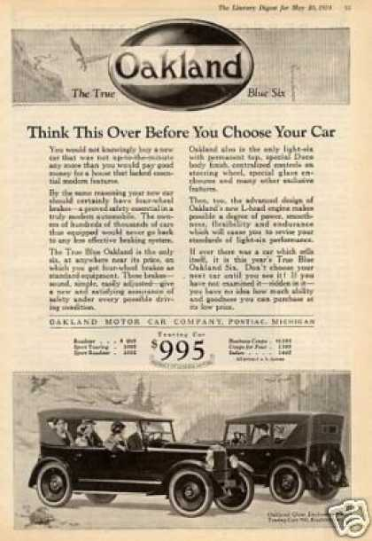 """Oakland Cars Ad """"Think This Over.... (1924)"""