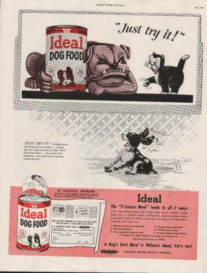 Ideal Dog Food Bull Dog and Kitten Print A (1950)