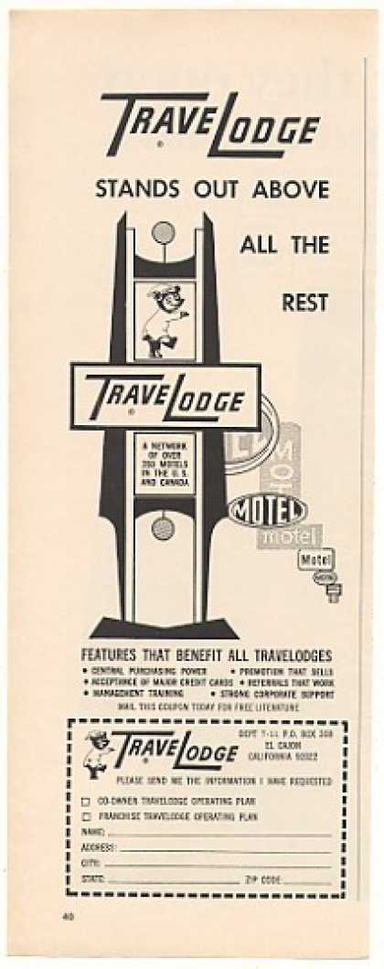 TraveLodge Stands Out Above Rest Sign Franchise (1967)