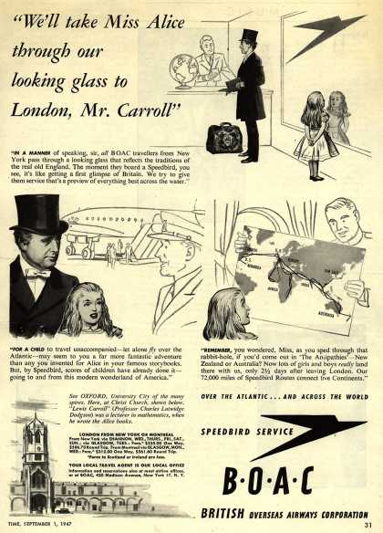 """British Overseas Airways Corporation – """"We'll Take Miss Alice Through Our Looking Glass To London, Mr. Carroll."""" (1947)"""