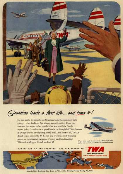 Trans World Airline's Skyliner – Grandma leads a fast life... and loves it (1951)