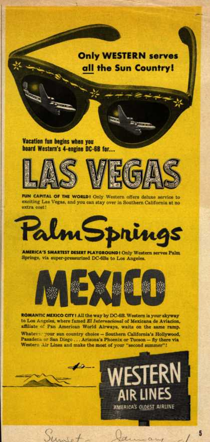 Western Air Line's Sun Country – Only Western serves all the Sun Country (1954)