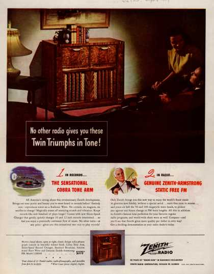 Zenith Radio Corporation's Various – No other radio gives you these Twin Triumphs in Tone (1947)