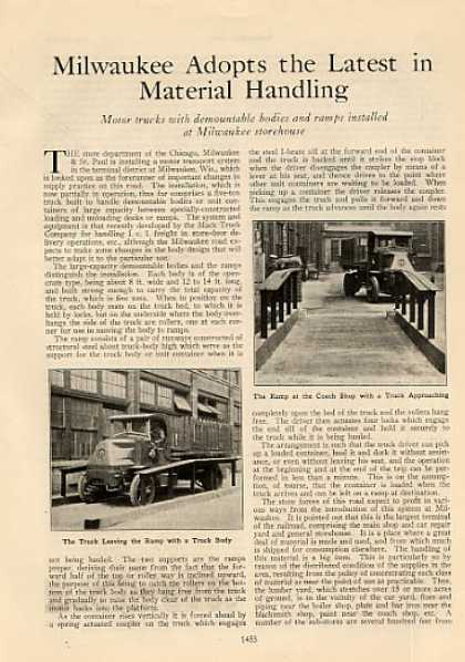 """""""Milwaukee Adopts the Latest In Material Handling"""" (1927)"""