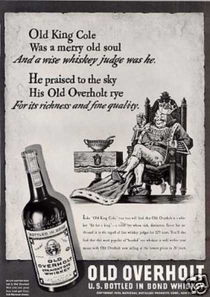 """Old Overholt Rye Whiskey Ad """"Old King Cole... (1939)"""