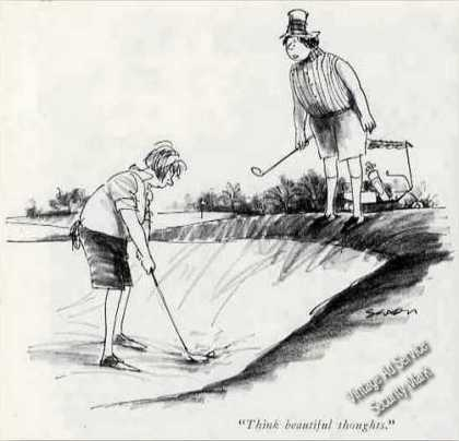 """New Yorker Golf Cartoon """"Think Beautiful Thought"""" (1964)"""