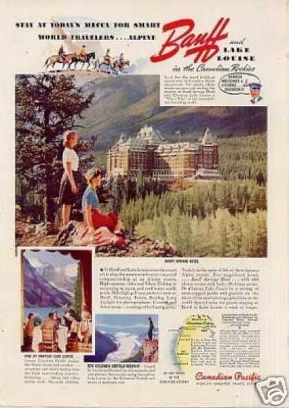 Canadian Pacific Color Ad Banff Springs Hotel (1940)