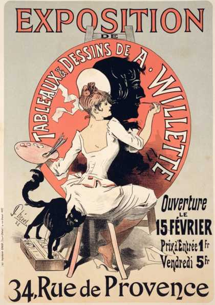 Reproduction of a Poster Advertising an Exhibition of the Paintings and Drawings of A. Willette