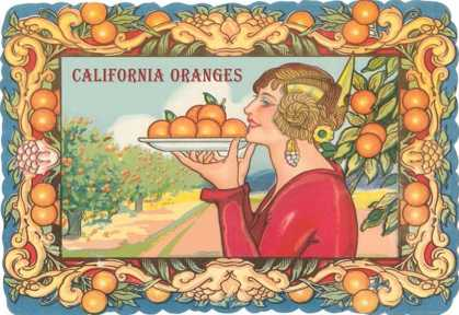 Graphic of Woman Holding Plate of Oranges, California