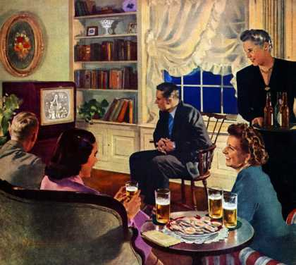 """""""Television Party"""" by Douglass Crockwell U.S. Brewers Foundation (1949)"""