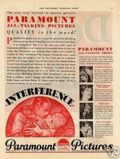 """Paramount Pictures Ad """"Interference"""" (1929)"""