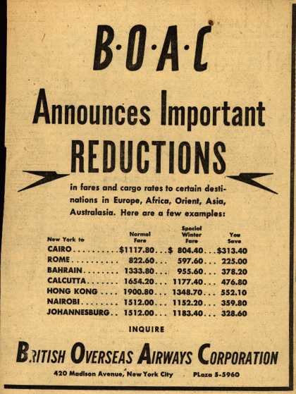 British Overseas Airways Corporation's Air Fares – BOAC Announces Important REDUCTIONS (1949)
