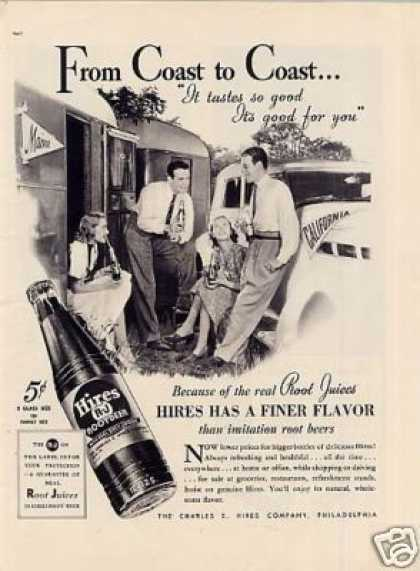 """Hires Root Beer Ad """"From Coast To Coast... (1937)"""