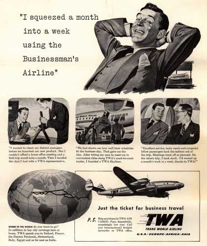 """Trans World Airline's Business Travel – """"I squeezed a month into a week using the Businessman's Airline"""" (1948)"""