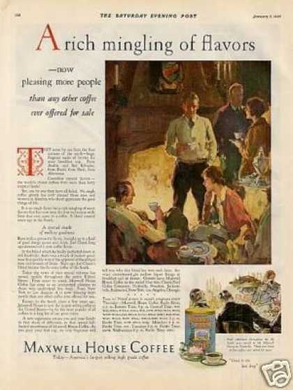 """Maxwell House Coffee Ad """"A Rich Mingling... (1928)"""