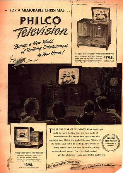 Philco's Projection Television – For a Memorable Christmas... Philco Television (1947)