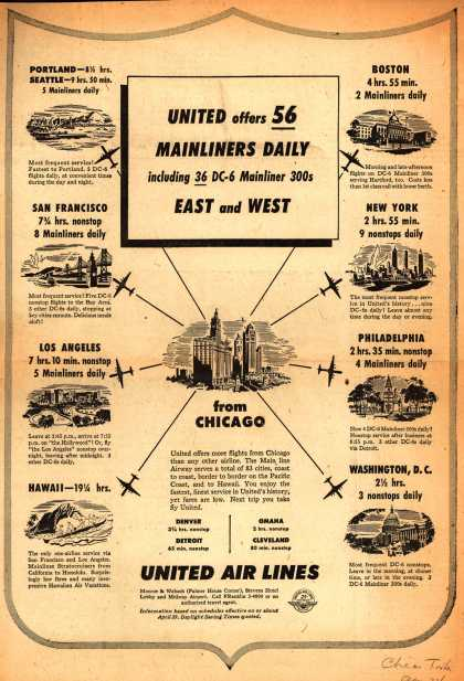 United Air Line's Daily Mainliners – United Offers 56 Mainliners Daily including 36 DC-6 Mainliner 300's East and West (1951)