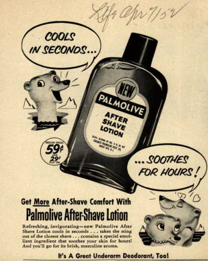 Palmolive Company's Palmolive After Shave Lotion – Cools in Seconds... Soothes For Hours (1952)