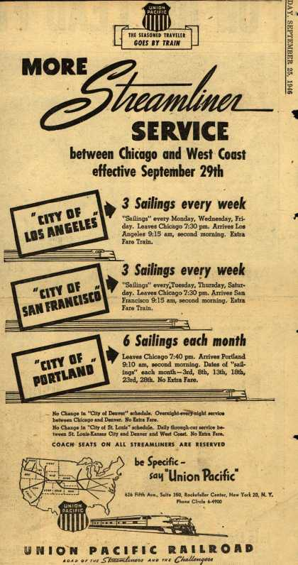Union Pacific Railroad's Streamliner – More Streamliner Service between Chicago and West Coast effective Sept. 29th (1946)