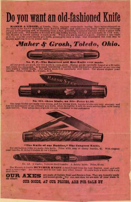 Maher & Grosh's Knives and axes – Do you want an old-fashioned Knife