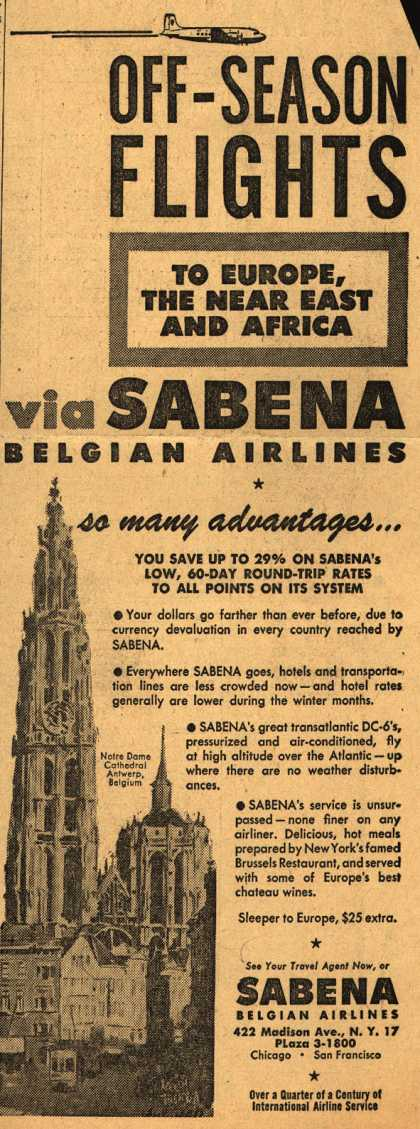Sabena Belgian Airline's Off-Season Flights – Off-Season Flights to Europe, the Near East and Africa (1949)