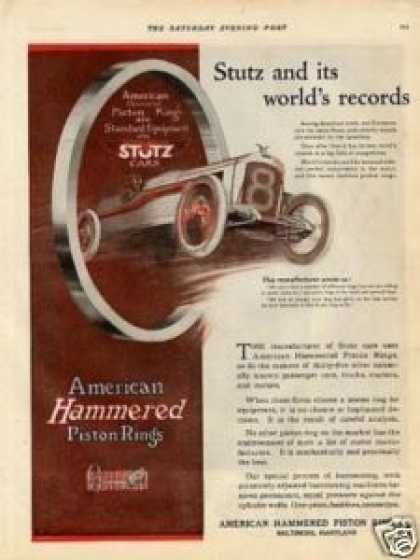 American Hammered Piston Rings Ad Stutz Car (1920)