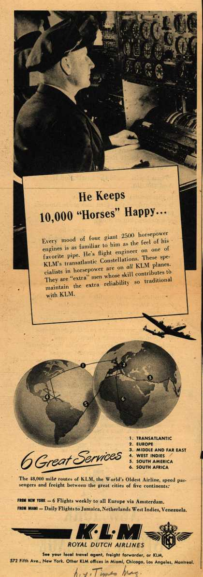 """KLM Royal Dutch Airlines – He Keeps 10,000 """"Horses"""" Happy... (1947)"""