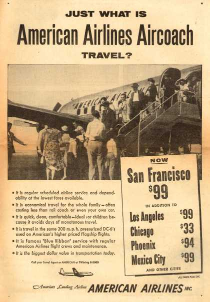American Airlines – Just What Is American Airlines Aircoach Travel? (1954)