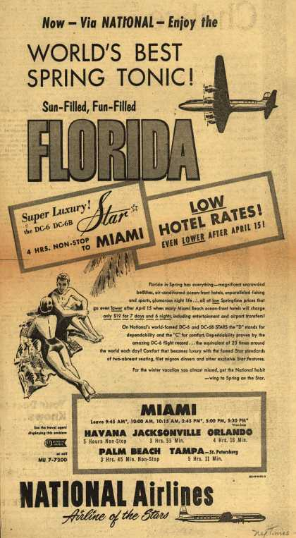 National Airline's Florida – Now- Via NATIONAL-Enjoy the WORLD'S BEST SPRING TONIC (1953)