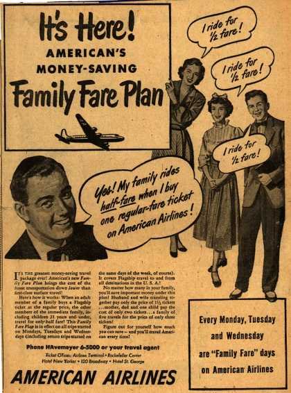 American Airline's Family Fare Plan package – It's Here! American's Money-Saving Family Fare Plan (1948)