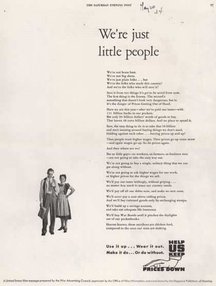 War Advertising Office's Anti-inflation – We're just little people (1944)