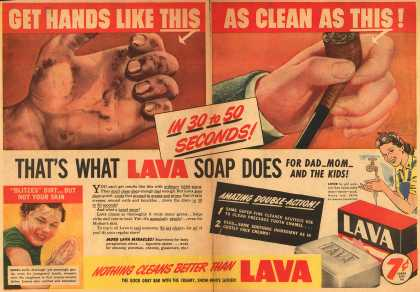 Procter & Gamble Co.'s Lava Soap – Get Hands Like This As Clean As This (1943)