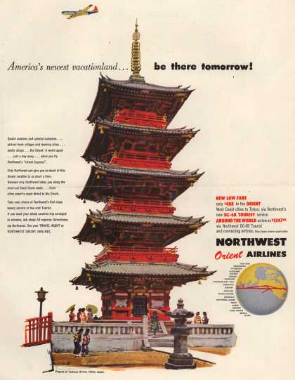 Northwest Orient Airlines – America's newest vacationland... be there tomorrow (1954)