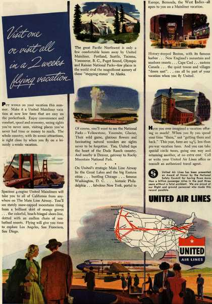 United Air Line's Two week Flying Vacations – Visit one or visit all in a 2 weeks flying vacation (1946)