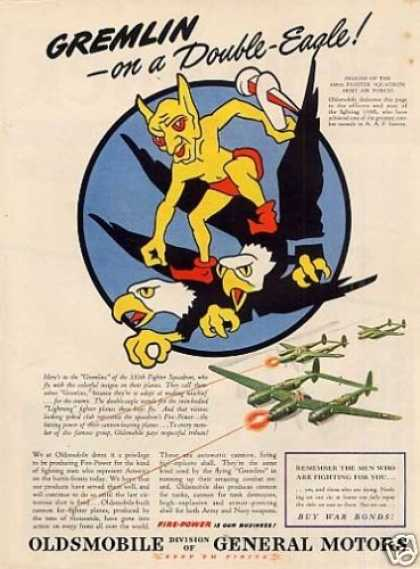 """Oldsmobile Ad """"Gremlin On a Double-eagle"""" (1944)"""