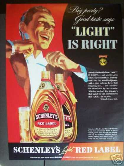 Schenley's Red Label Whiskey Color Art (1939)