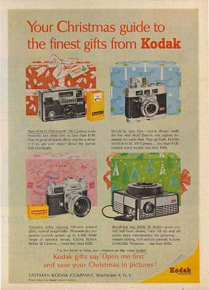 """Kodak's """"Your Christmas guide to the finest gifts from (1963)"""