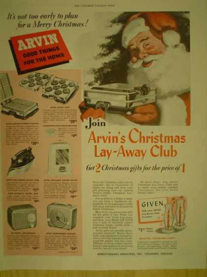 Arvin Good things for the home. Christmas theme (1949)