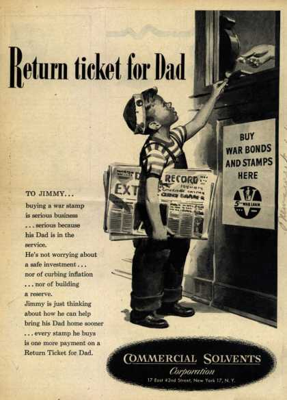 Commercial Solvents Corporation's War Stamps – Return Ticket for Dad (1944)