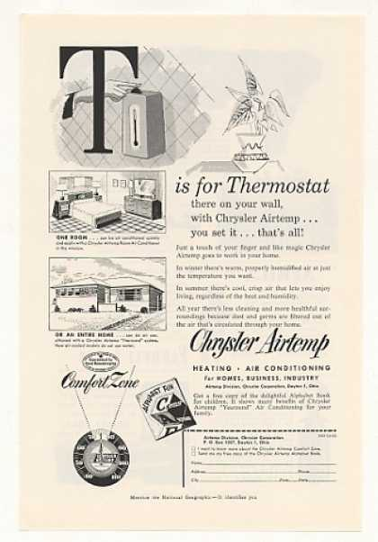 Chrysler Airtemp Heat A/C T is for Thermostat (1953)