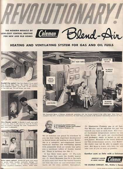 Coleman's Revolutionary Blend-Air Heating and Ventilating System for Gas and Oil fuels (1950)