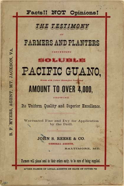 John S. Reese & Company's Soluble Pacific Guano – The Testimony of Farmers and Planters