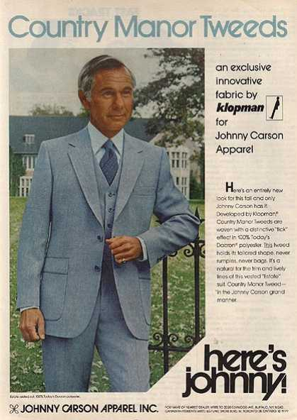 Johnny Carson Apparel's Country Manor Tweed (1979)