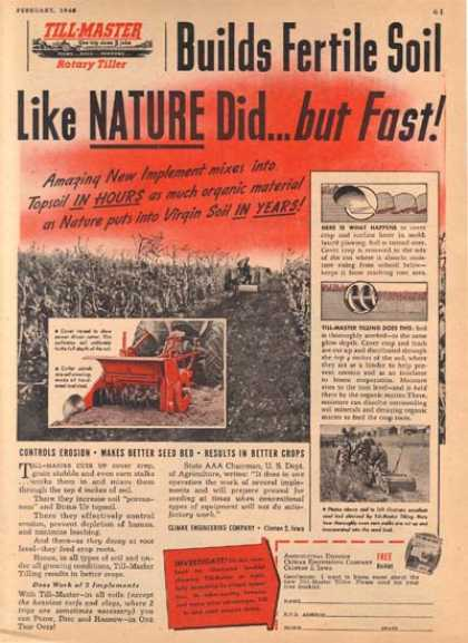 """Till-Master's """"Builds Fertile Soil like Nature did...but Fast"""" (1946)"""