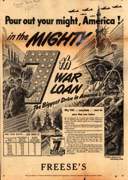 U. S. Treasury Dept.'s 7th War Loan – Pour out your might, America (1945)