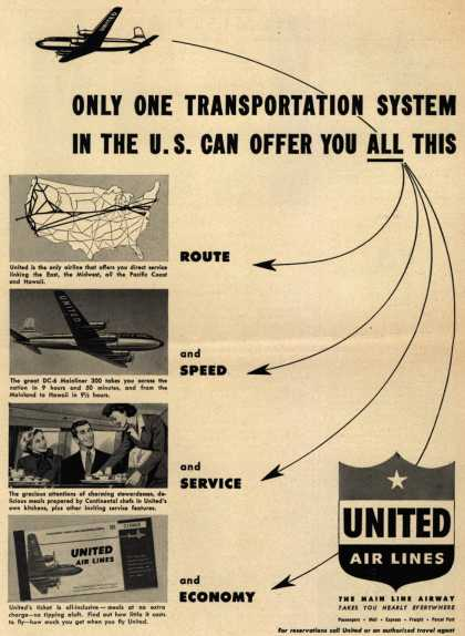 United Air Lines – Only One Transportation System In The U.S. Can Offer You ALL This (1949)